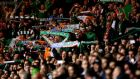 Republic of Ireland  supporters in full voice at the Euro 2016 qualifier against Scotland at Celtic Park in Glasgow. Photograph: James Crombie/Inpho