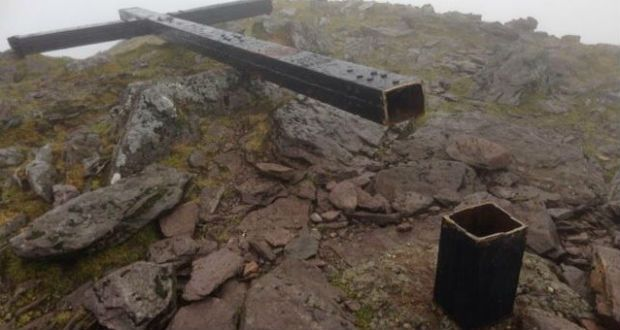 It is not known who cut down the cross on top of  Carrauntoohil which was erected on the mountain in 1976 with the aid of about 100 people. Photograph: Cronins Yard/Twitter