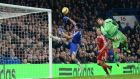 Chelsea Diego Costa (left) misses an opportunity to score against West Brom    Stamford Bridge. Photograph: Peter Powell / EPA