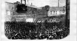The execution of the Manchester Martyrs on November 23rd, 1867. They occupy a unique position in the nationalist pantheon as victims of violence, as much as its purveyors