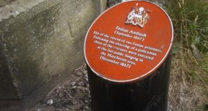 A plaque marks the spot of the ambush in Manchester