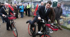 Mayor of Galway City  Donal Lyons and Minister for Transport Paschal O'Donohoe at Eyre Square, Galway,  as  Coca-Cola Zero Bike scheme rolls out in the city. Photograph: Joe O'Shaughnessy