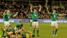 Ireland's Jamie Heaslip, Ian Madigan, Peter O'Mahony and Robbie Henshaw celebrate on the final whistle after defeating Australia at the Aviva Stadium on Saturday. Photograph: Inpho
