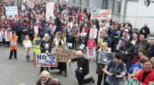 Protesters gathered in Limerick to protest the water charges last month.  File Photograph: Liam Burke/Press 22