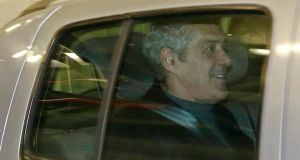 The former Portuguese prime minister Jose Sócrates inside a police car leaving the Central Criminal Court in Lisbon, Portugal, yesterday. Photograph: Andre Kosters/EPA.