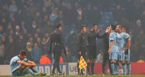 Sergio Aguero, Pablo Zabaleta and Samir Nasri of Manchester City protest to Referee Tasos Sidriopoulos at the end of the UEFA Champions League Group E match between Manchester City and CSKA Moscow earlier this month. Photograph:Alex Livesey/Getty Images