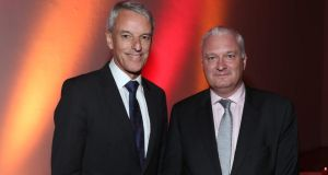At JLL's 50th anniversary were Colin Dyer (left), president and CEO of JLL, and John Moran, MD, JLL Ireland