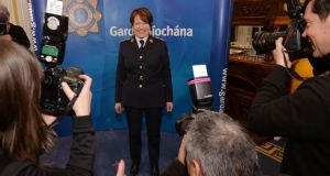 Noirin O'Sullivan, newly appointed Garda Commissioner giving a press conference at Garda Headquarters in the Phoenix Park. Photograph: Alan Betson / The Irish Times