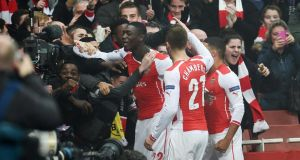 Yaya Sanogo scored his first goal for Arsenal to put the Gunners 1-0 up against Borussia Dortmund at the Emirates