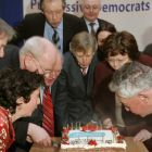 Fiona O'Malley with party president Michael McDowell, Bobby Molloy, PD leader Mary Harney and former leader Des O'Malley blow out the candles on the cake to mark the party's 20 years in political life at their party HQ  in Dublin. Photograph: David Sleator