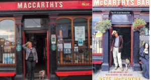 Adrienne MacCarthy outside her pub in Castletownbere, Co Cork; and the cover of Peter McCarthy's book. Main photograph: Michael Mac Sweeney/Provision