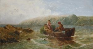Is this the famous lost Victorian painting 'The Rush Gatherers, Lough Corrib, Connemara, Ireland'.