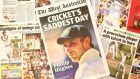A copy of the West Australian newspaper showing headlines surrounding the death of Phillip Hughes. Photograph: Paul Kane/Getty Images