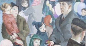 A detail from Christmas Eve (Figures on Moore Street) by Muriel Brandt
