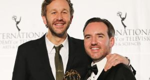Chris O'Dowd and Nick Vincent Murphy collecting an Emmy for the show in 2013. Photograph: Neilson Barnard/Getty Images