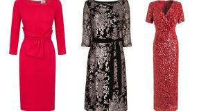 Red wool opera dres, €365; Sophia sequin dress, €140, Phase Eight; Red sequin dress, €337.50, Jenny Packham