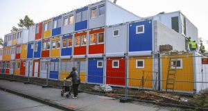 Construction site for a refugee centre  in Berlin: A new survey indicates that non-nationals living in Germany are  net contributors  to the country's welfare system. Photograph: Hannibal Hanschke/Reuters