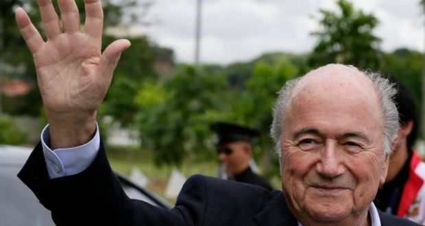 f6613d6375f Fifa president Sepp Blatter waves to the crowd at a ground breaking  ceremony for a national
