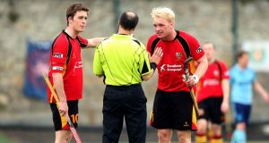 Banbridge's Stephen Dowds (left) who scored twice in his side's 4-4 draw against Lisnagarvey