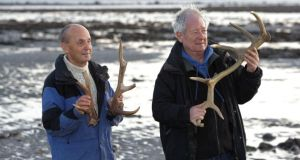 Pictured near the site with some of the red deer antlers from 500 AD which were found on the outskirts of Galway city are Brian O Carra, author of the paper on the site (left) and geologist, Prof Mike Williams. Photograph: Joe O'Shaughnessy.