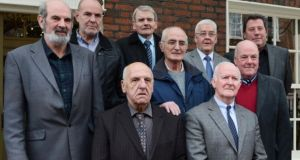 Pictured are nine of the 'hooded men'. Photograph: Cyril Byrne/The Irish Times