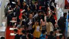 Job fair at Donghua University in Shanghai: China has a roaring domestic market in technology.  Photograph: Reuters/Carlos Barria