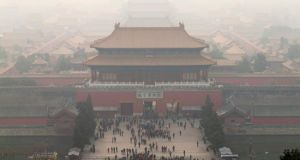 The Forbidden City in Beijing shrouded in fog on. Beijing's proximity to the industrial heartland of Hebei province is generally given as an explanation for the high-levels of  pollution  in China's capital. Photograph: Rolex Dela Pena/EPA
