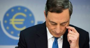 Mario Draghi, president of the European Central Bank (ECB), pauses during a news conference to announce the bank's interest rate decision in Frankfurt, Germany last month. Markets don't expect Mr Draghi to decrease rates on Thursday. ( Photograph: Martin Leissl/Bloomberg)