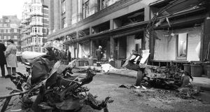 After the IRA car bombing of Harrods in London in December 1983 in which six people died. According to a new book, elite figures in Irish society ferried IRA weapons around in top-of-the-range cars. Photograph: Express/Getty Images
