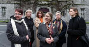 Micheline Sheehy Skeffington (fourth from left)  at NUI Galway yesterday with, from left: Dr Margaret Hodgins, Dr Adrienne Gorman, Dr Elizabeth Tilley, Dr Sylvie Lannegrand and Dr Roisin Healey. Photograph: Joe O'Shaughnessy
