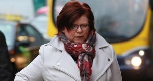 Marie Farrell  arriving at the Four Courts on Thursday to give evidence in the Ian Bailey case.Photograph:  Collins/Courts