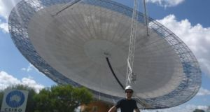 Dr Alan Duffy, observing distant galaxies with Parkes Radio Telescope, New South Wales, Australia