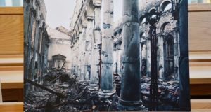 A photographs of the cathedral's interiors after the fire
