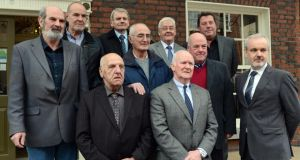 At the  'Hooded Men' Amnesty press conference in Dublin, From left:  Micheal Donnelly, Patrick Mc Nally, Brian Turley, Gerry Mc Kerr, Francis Mc Guigan, Joe Clarke, Jim Auld;  front, from  left Kevin Hannaway, Liam Shannon and Colm O' Gorman, Amnesty Ireland. Photograph: Cyril Byrne / THE IRISH TIMES