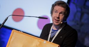 Kevin Barry speaking at the Dotmed conference. Photograph: Richard Walshe