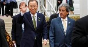 United Nations secretary-general Ban Ki-moon with Peru's minister of environment Manuel Pulgar Vidal arriving for the opening of the high-level segment of the UN Climate Change Conference in Lima on Tuesday. Photograph: Enrique Castro-Mendivil/Reuters