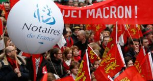 French lawyers protest against proposed reforms of the legal sector.