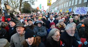 Protesters at the anti-water charges protest at Merrion Square, Dublin. Photograph: Eric Luke