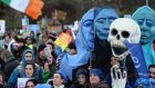 Protesters at the anti-water charges rally at Merrion Square, Dublin, on Wednesday. Photograph: Eric Luke/The Irish Times