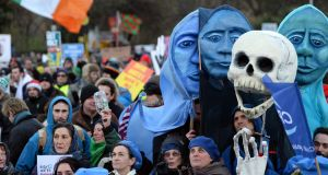 Blue in the face over water charges: protesters amid an anti-water charges protest at Dublin's Merrion Square on December 10th, 2014. Photograph: Eric Luke/The Irish Times