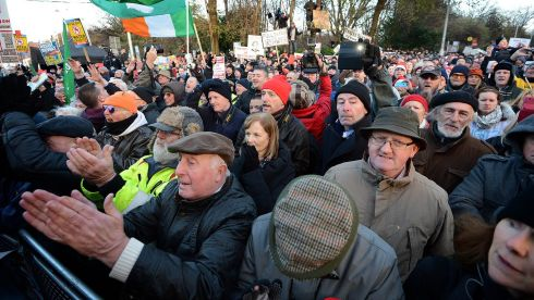 The crowd make their feelings plain over water charges at Merrion Square in Dublin.  Photograph: Eric Luke/The Irish Times