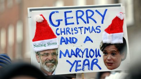 A placard featuring Sinn Féin leaders Gerry Adams and Mary Lou McDonald, who have been vocal against water charges, at the Merrion Square rally. Photograph: Eric Luke/The Irish Times