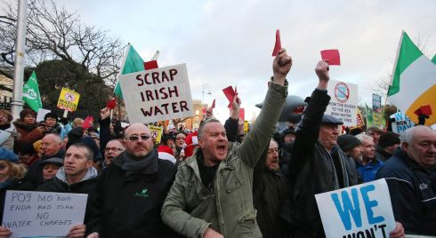 "Irish water shall be free: The crowds say, ""We won't pay"". Photograph: Niall Carson/PA Wire"