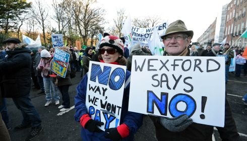 Carol Daly and Peter Kavanagh from Wexford at the anti-water charges protest at Merrion Square, Dublin. Photograph: Eric Luke/The Irish Times