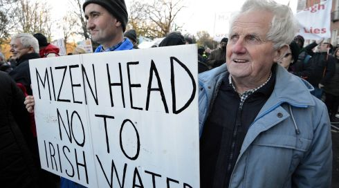 Plenty of smiles on a cold day out: Robert Dukelow (left) and Thadhg O'Driscoll, from Mizen Head at the Dublin city protest. Photograph: Eric Luke/The Irish Times