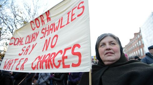 Liz Donavan of Cork joins the Dublin city protest.   Photograph: Eric Luke/The Irish Times