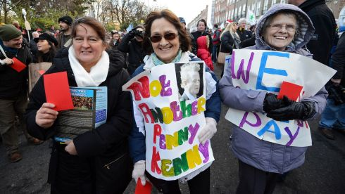 Margaret O'Donnell of Tallaght, Esther Gill of Drimnagh and Phyllis Swords of Rialto make their opposition to water charges clear.  Photograph: Eric Luke/The Irish Times