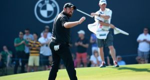 Shane Lowry acknowledges the crowd on the 18th green during the third round of the DP World Tour Championship in Dubai. Photograph: Warren Little/Getty Images