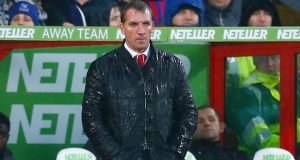 Liverpool manager Brendan Rodgers under pressure after Champions League exit.  Photograph: Eddie Keogh / Reuters