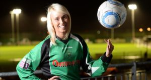 Soccer player Stephanie Roche of Peamount United, who is shortlisted for Fifa's Puskas Goal of the Year Award,  was joint winner of the Sportswoman of the Month Award for November. Photographer: Dara Mac Dónaill/The Irish Times